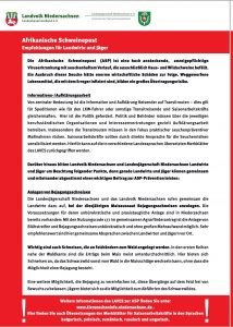 Empfehlungen LJN und Landvolk zur ASP